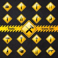 Gelbe und schwarze Schilder der Toolbox