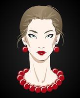 Schönes Porträt der jungen Frau mit roter Halskette
