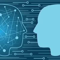 Künstliche Intelligenz und menschliche Intelligenz vektor