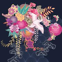 Dekorativt kimono blommigt motiv vektor