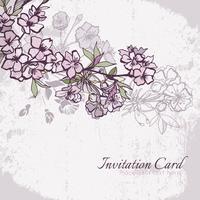 Blomning körsbär eller sakura bröllop inbjudningskort vektor