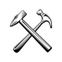 Två korsade hammersymboler vektor