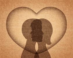 Paar in Liebe Silhouetten