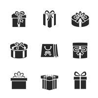 Geschenkboxikonen stellten mit verschiedenen Bändern und Bögen ein