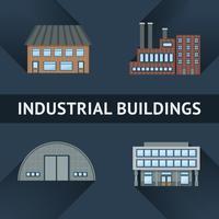 Industriella och affärsbyggande ikoner vektor
