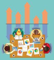 Infografik mit Geschäftsleuten und Diagrammen vektor