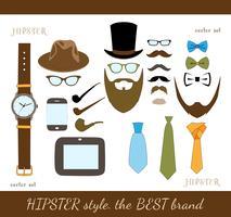 hipster tillbehör ikoner uppsättning