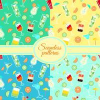 Samling av sömlösa mönster med cocktaildrycker