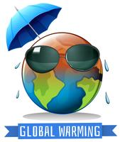 Globale Erwärmung mit Erde und Regenschirm vektor