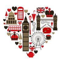 Liebe London Herz Symbol vektor