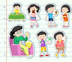 Aufkleberdesign mit vielen Kindern, die Süßigkeiten essen vektor