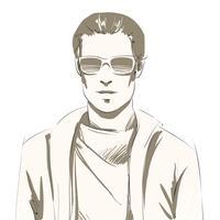 Stilig ung manporträtt vektor