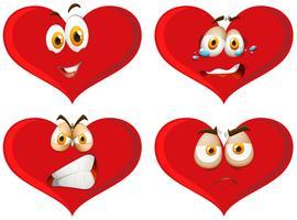 Rote Herzen mit Gesichtsausdrücken vektor