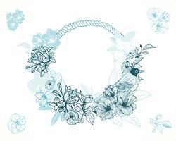 Pastell romantisk blommig ram vektor