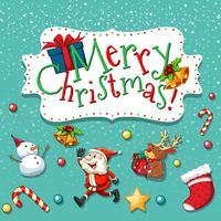 Jultema med santa och snögubbe vektor