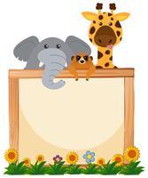 Gränsmall med elefant och giraff i bakgrunden vektor