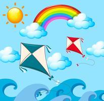 Scen med två drakar och regnbåge vektor