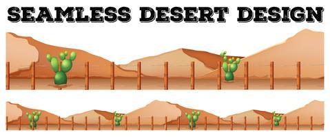 Seamless bakgrundsdesign med kaktus i öknen