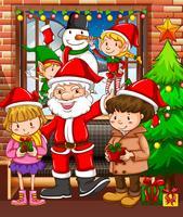 Jul tema med Santa och barn vektor