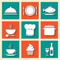 Restaurang café ikoner uppsättning