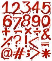 Numeriska siffror i blodig mall