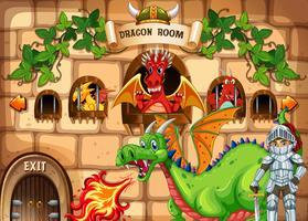 Spielvorlage mit Drachen und Ritter vektor