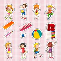 Klistermärke uppsättning barn och skolobjekt vektor