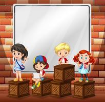 Border design med barn och lådor