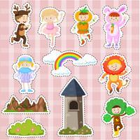 Aufkleberdesign mit Kindern in Kostüm- und Bühnenbildern vektor