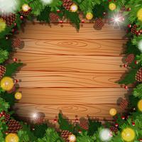 Gränsmall med pinecone och löv vektor