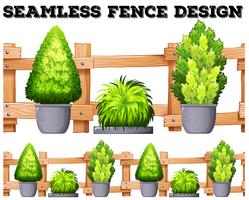 Nahtloses Design mit Zaun und Topfpflanzen
