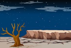 Natur scen med torrt land på natten
