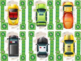 Olika typer av bilar från topview