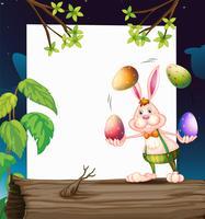 Eine leere Vorlage mit einem Häschen, das die Eier jongliert
