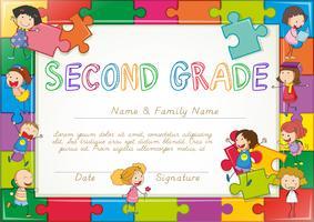 Zertifikatvorlage für Schüler der zweiten Klasse vektor