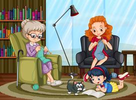 Familjemedlemmar njuter av fritid tillsammans vektor