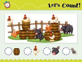 Spielvorlage zum Zählen von Tieren vektor