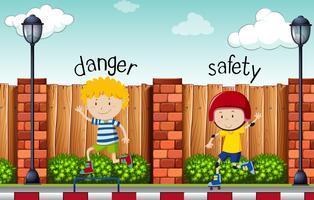 Motsatt ord för fara och säkerhet vektor