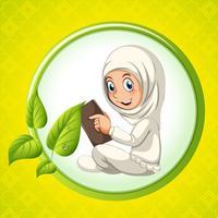 Muslimisches Mädchen liest ein Buch vektor