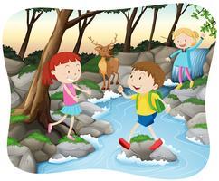 Scen med barn i skogen vektor