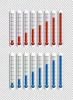 Blå och röda vätskor i termometrar