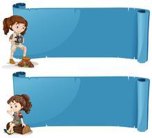 Fahnendesign mit Mädchen im Safarioutfit vektor