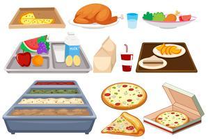 Olika typer av mat på whtie bakgrund