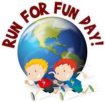 Två pojkar springar för rolig dag