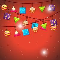 Flaggor och bollar dekoration hängande vektor