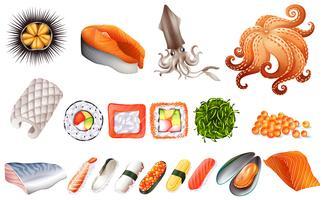 Sushi und Meeresfrüchte eingestellt vektor