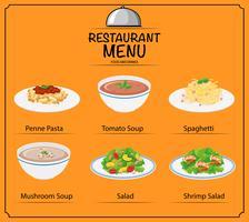 Olika maträtt på menyn vektor