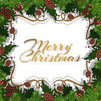 Weihnachtskarte mit Tannenzapfen und Blättern vektor