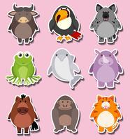 Klistermärke design med söta djurtecken vektor
