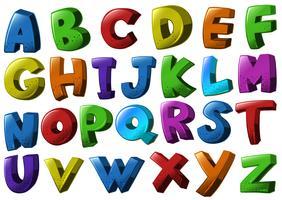 Schriftarten des englischen Alphabets in verschiedenen Farben